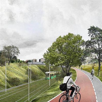 Illustration av den nya spårvägslinjen som ska byggas i Helsingfors.