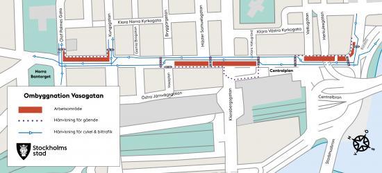 Karta över aktuella arbetsområden och hänvisning för gående, bil- och cykeltrafik.