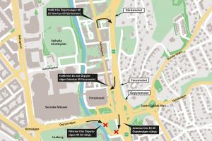 Kartan nedan visar över vad som gäller från den 10 augusti. Observera att det i fortsättningen endast är bussar som får köra ut på E6 söderut vid Focusmotet.