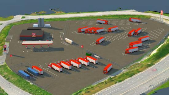 Vätgastankning (vid blå behållare i bild) och snabbladdning för tung trafik gör den nya stationen unik i Norden (bilden är en illustration).