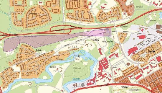 Karta inventeringsområde (lila område).