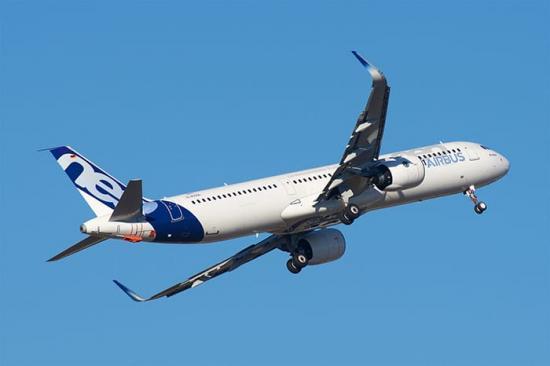 En Airbus A321neo där GKN är partner i motorn, en PW1100.
