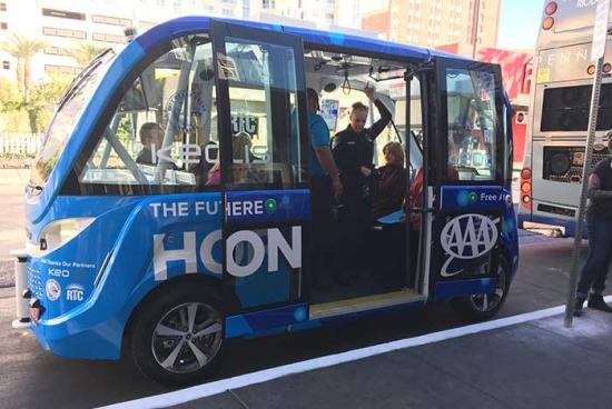 Självkörande buss i Las Vegas.