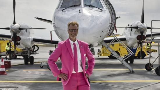 AirGotlands ordförande Michael Juniwik på invigningsdagen.