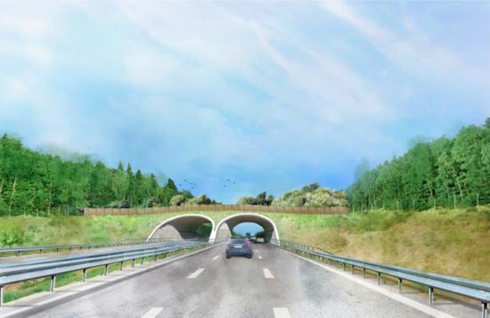 Ekodukten kommer att byggas med valv av stål, en lösning som sparar in på mängden betong och därmed minskar klimatpåverkan.