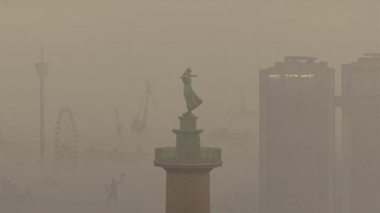I ett nytt initiativ vill Västtrafik synliggöra problemet med den dåliga luften (bilden är ett montage).