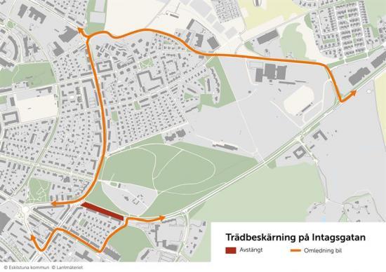 Kartan visar den avstängda sträckan samt omledningen för bilar.