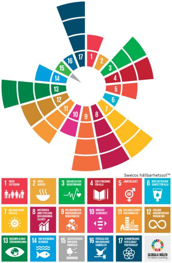 Bedömning av hur projektet Oslo-Sthlm 2.55 bidrar till FN:s globala hållbarhetsmål, visualiserat i Swecos Hållbarhetssol™ och de 17 globala hållbarhetsmålen.