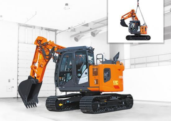 ZX135:an med förkortad och förstärkt bom/sticka är avsedd för tunneljobb eller rivning då den kan bära hydraulhammare.