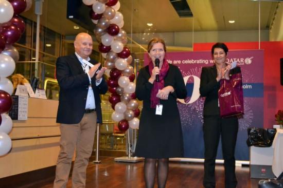 Kjell-Åke Westin, flygplatsdirektör på Stockholm Arlanda Airport med Pernilla Tillas, Sales Manager Qatar Airways Sweden, Finland & Baltic States och Nina Astor, Senior Sales Executive på Qatar Airways.