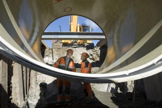 Bild från tunnelbygge i Malmö.