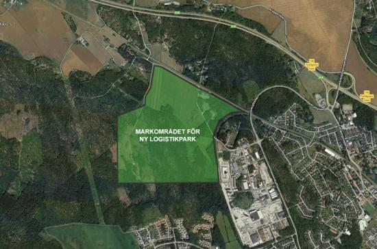 Kartbild över platsen för den nya logistikparken.