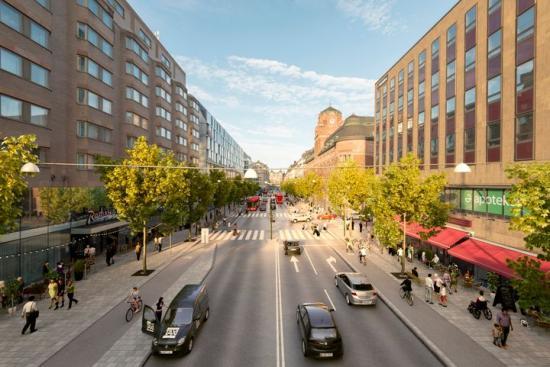 Visionsbild på Vasagatan norrut, vy från Klarabergsgatan, efter ombyggnationen (bilden är en illustration).