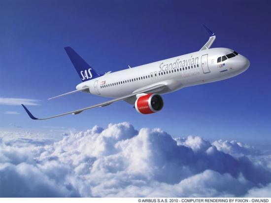 <span>Airbus A320neo, med ca. 15 % mindre bränsleförbrukning, på bilden har premiär i SAS flotta den 26 oktober. </span>