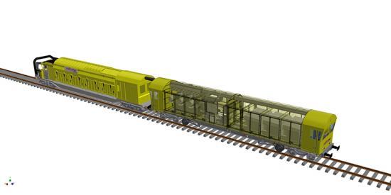 Sprängskiss över MPV tillsammans med Railvac MC.