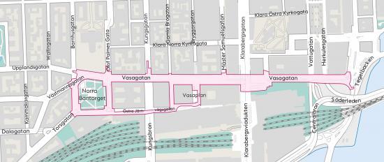 Karta över området som omfattas av projektet under byggtiden 2018-2022: Vasagatan, Norra Bantorget, Östra Järnvägsgatan och Vasaplan.