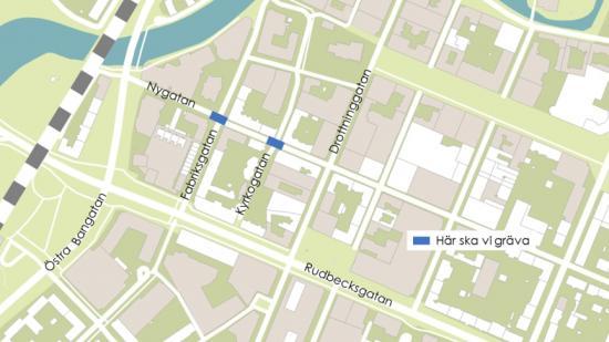Framkomligheten på Nygatan blir begränsad vid bytet av en gammal vattenledning.