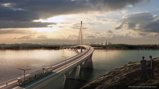 Kronbroarnas planerade spårvagnslinje (bilden är en illustration).<br />Illustration: Crown Bridges project, City of Helsinki, WSP, Knight Architects