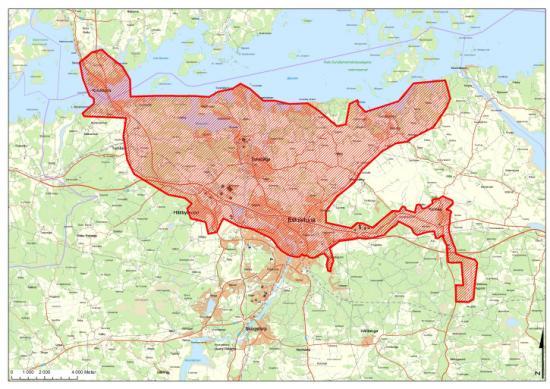 Bor du inom den markerade ytan på kartan bör du koka ditt kranvatten.