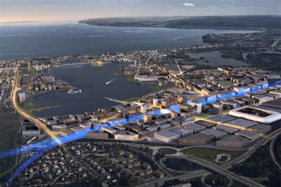 Planerat centralt stationsläge i Södra Munksjön.