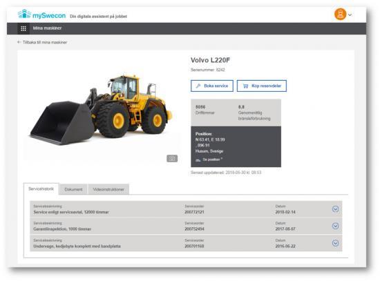 I webbportalen mySwecon kan användarna idag se alla maskiners positioner, drifttimmar, bränsleförbrukning samt kan boka service online. Denuppdaterasregelbundet med nya anpassningar som varje vecka stäms av med testkunderna.
