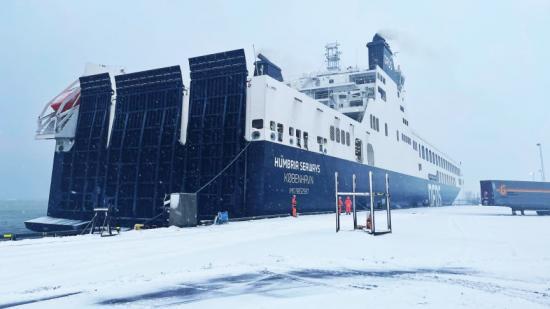 M/S Humbria Seaways anlöper Gothenburg RoRo Terminal 17 februari.