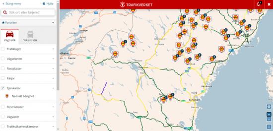 Karta: Trafikinformation väg, vy tjälskador, nedsatt bärighet 30 mars 2021.