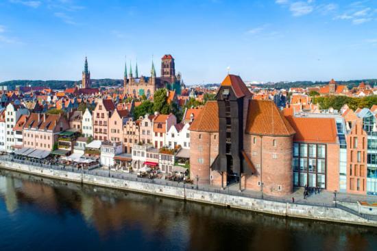 Vy över centrala Gdansk.