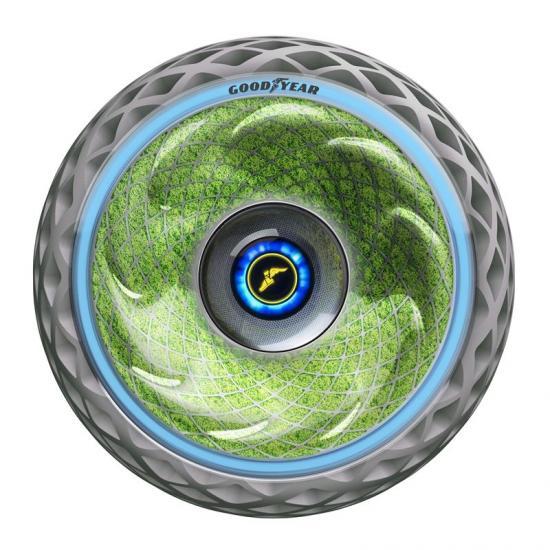 <span>Goodyears senaste konceptdäck Oxygene har en unik struktur med levande mossa som växer inuti sidoväggen och kan bland annat rena luft.</span>
