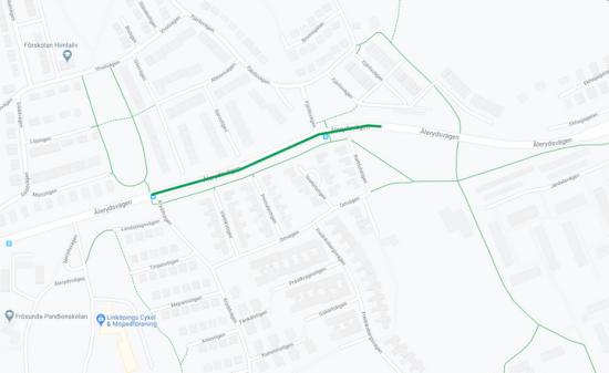 Den påverkade sträckanav Ålerydsvägen i Linköping är utmarkerad med grönt.