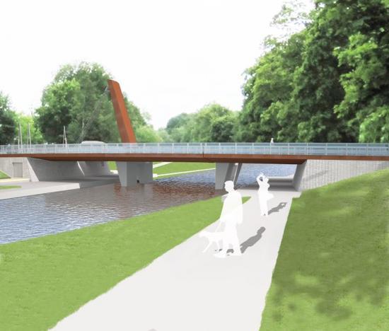 Illustration, skiss överden nya bron.