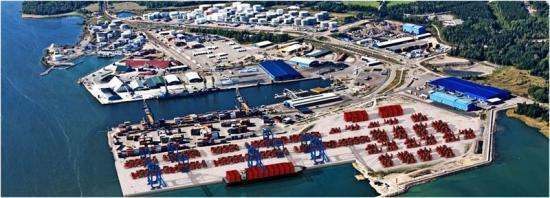 Containerhamnen där det nya lagret ska byggas, Gävle Hamn.