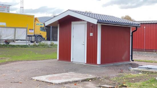Den nya avloppspumpstationen vid Ekeby.
