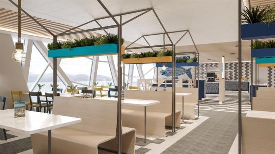 Den nya Wasaline-färjan bjuder på moderna passagerarbekvämligheter.