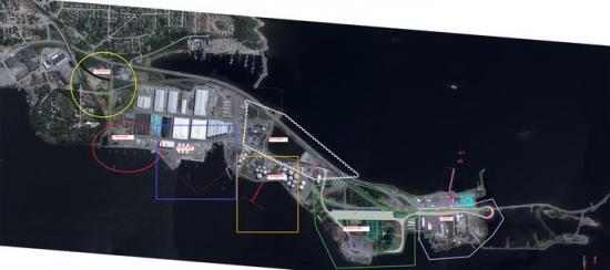 Översiktsbild som visar vart olika åtgärder ska genomföras inom hamnområdet.