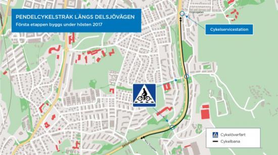 Karta över första etappen av det pendelcykelstråk med cykelöverfarter och cykelservicestation som ska byggas längs Delsjövägen i östra Göteborg under hösten 2017.