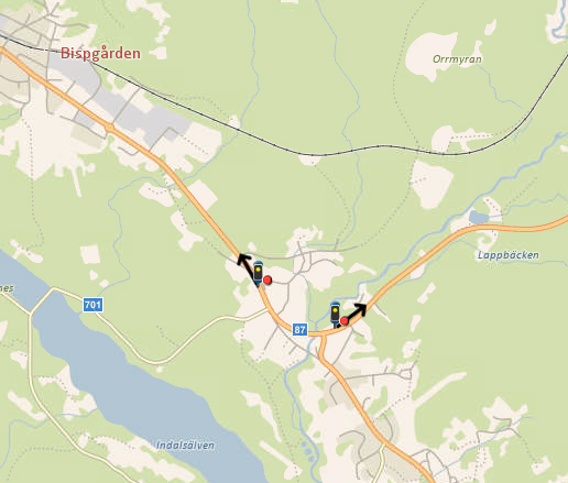 Placeringar väg 87 Fors- östra Bispgården.