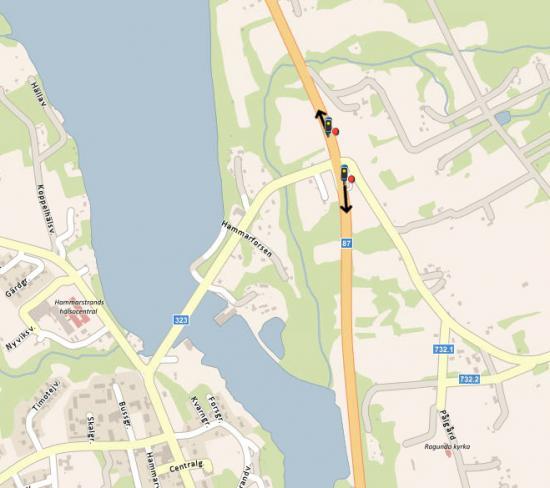 Placeringar korsning väg 87/323/732.