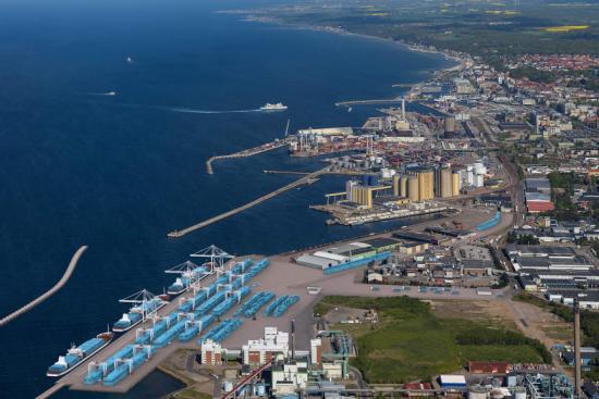 En första visionsskiss över Helsingborgs Hamn framtida containerterminal.