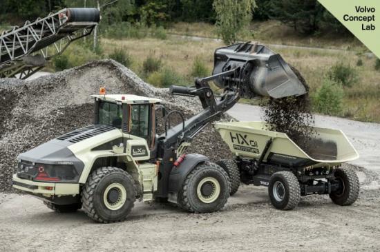 Volvo LX1 hybridhjullastare lastar HX1 lastbärare
