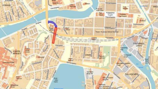 I den röda markeringen är biltrafiken avstängd från 15 september till december. I den blåa markeringen är trafiken avstängd från mitten av oktober till till december.