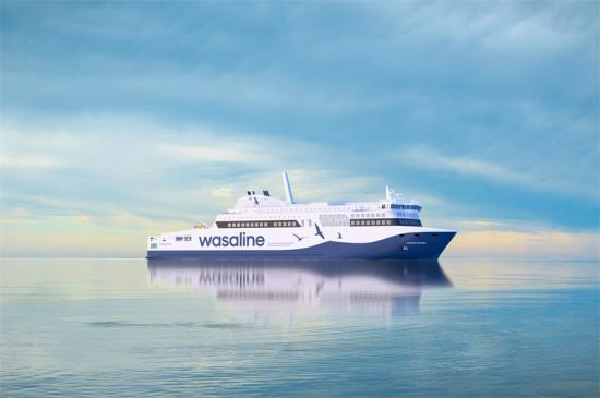 Visionsbild över Wasalines nya fartyg Aurora Botnia.
