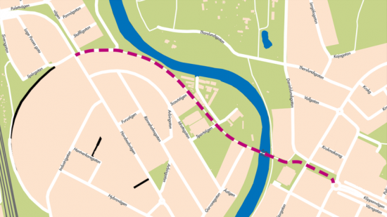 Kartbilden är en visualisering av var Klippanvägens förlängning skulle kunna sträcka sig. Vägens exakta utformning är ännu inte beslutad utan kartans syfte är att ge en uppfattning av området.