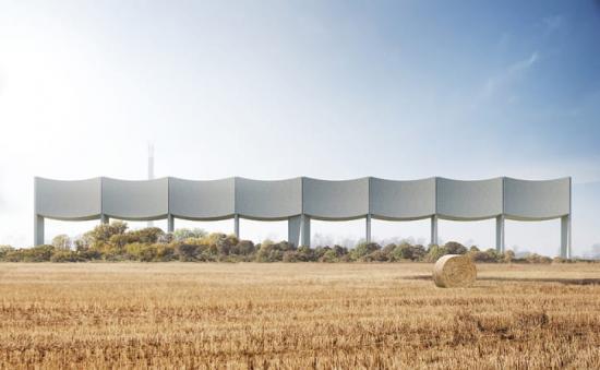Visionsbild över vattentornet VÅGA, som kommer rymma 2000 kubikmeter vatten när den är färdigbyggd (bilden är en illustration).