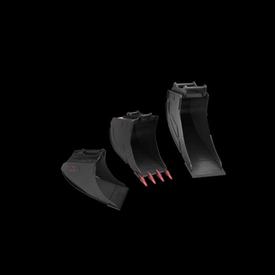 Rototilts olika skopor finns för alla grävmaskiner mellan 1,5 och 32 ton.