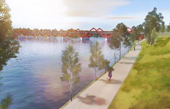 Visionsbild över Karlgårdsbron som ska byggas i Skellefteå (bilden är en illustration).