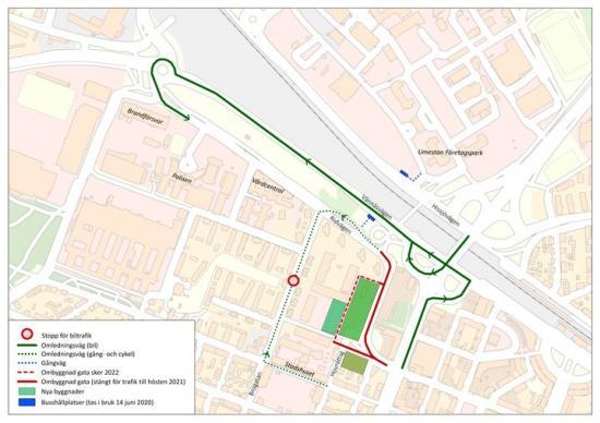 Karta ombyggnation av Ridvägen och utveckling av Östra Dragonfältet.