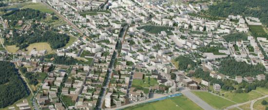 Visionsbild över delar av framväxande Barkarbystaden.