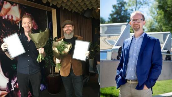 Årets vinnare av E-Prize. Från vänster: Anders Forslund, vd Heart Aerospace, Jesper Wirén, vd Enjay och Joakim Byström vd Absolicon.